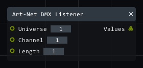 Art-Net DMX listener in Lightact's Layer Layouts visual scripting system.