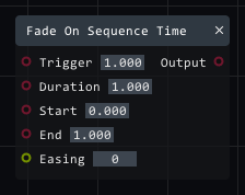 Fade on sequence time in Lightact's Layer Layouts visual scripting system.