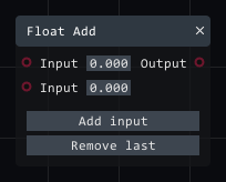 Float add in Lightact's Layer Layouts visual scripting system.