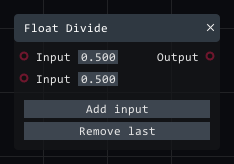 Float divide in Lightact's Layer Layouts visual scripting system.