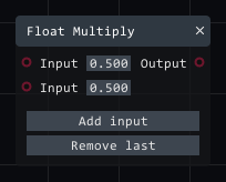Float multiply in Lightact's Layer Layouts visual scripting system.
