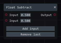 Float subtract in Lightact's Layer Layouts visual scripting system.