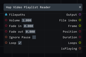 Hap Video Playlist Reader in Lightact's Layer Layouts visual scripting system.