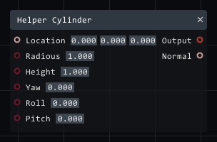 Helper cylinder in Lightact's Layer Layouts visual scripting system.