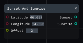 Sunset and Sunrise in Lightact's Layer Layouts visual scripting system.