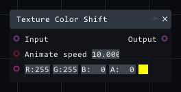 Texture color shift in Lightact's Layer Layouts visual scripting system.