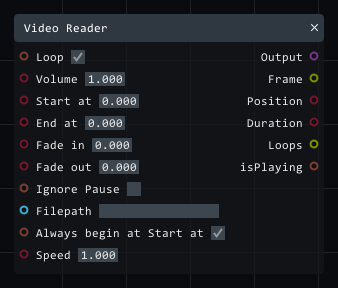 Video reader in Lightact's Layer Layouts visual scripting system.