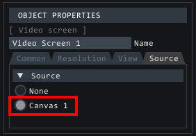 Selecting canvas in video screens source tab