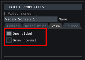View tab of video screen properties