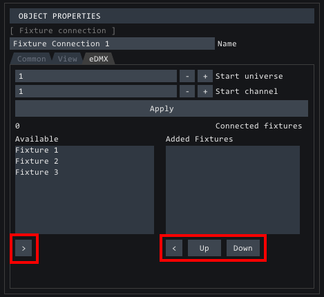 fixture connection eDMX tab