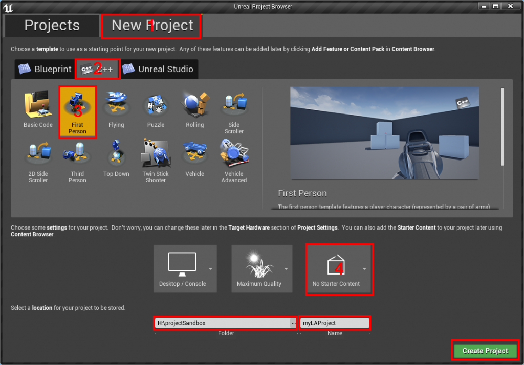 create new ue project
