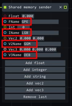 shared memory sender variables
