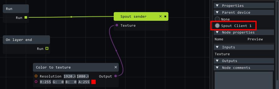 spout sender setup