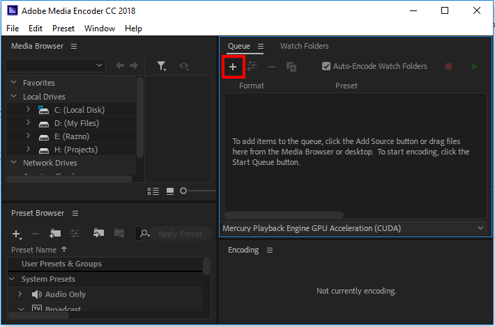 add files adobe media encoder