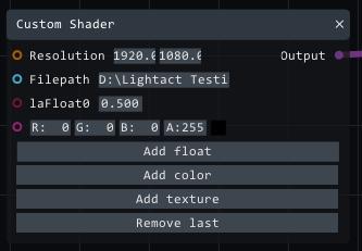 custom shader color input
